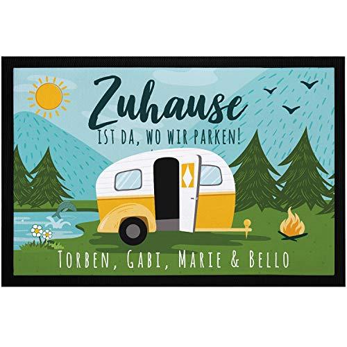SpecialMe Fußmatte Familie personalisiert mit Namen Zuhause ist da wo wir parken Camping Wohnwagen rutschfest & waschbar schwarz 60x40cm