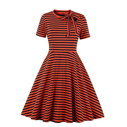 Wellwits - Abito da donna con scollo a righe, stile vintage anni '40 e '50 Arancione 40-42