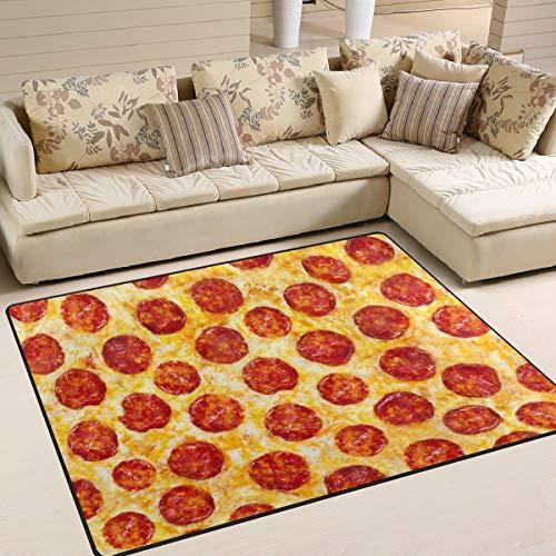 XiangHeFu Weiche Fußmatten 7'x5 '(80x58 Zoll) Teppiche Wurst Pizza Oberfläche rutschfeste Bodenmatte Ruhe für Wohnzimmer Schlafzimmer
