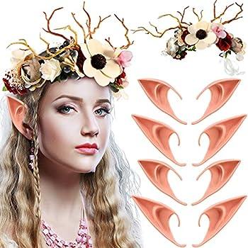 9 Pieces Elf Fairy Cosplay Costume Set Included Deer Flower Crown Flower Headband Women Floral Crown Boho Flower Headband 4 Pairs Fairy Elf Soft Ears Fairy Pixie Elf Ears for Halloween Party