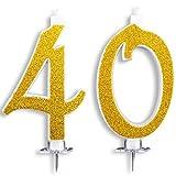 Candeline Maxi 40 Anni per Torta Festa Compleanno 40 Anni | Decorazioni Candele Auguri Anniversario Torta 40 | Festa a Tema | Altezza 13 CM Oro Glitter