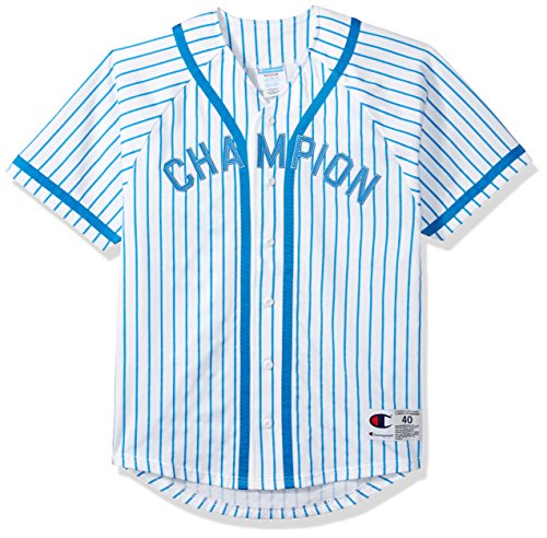 Champion LIFE Men's Braided Baseball Jersey, White/Champion Vert Hotline Blue Pinstripe, XS
