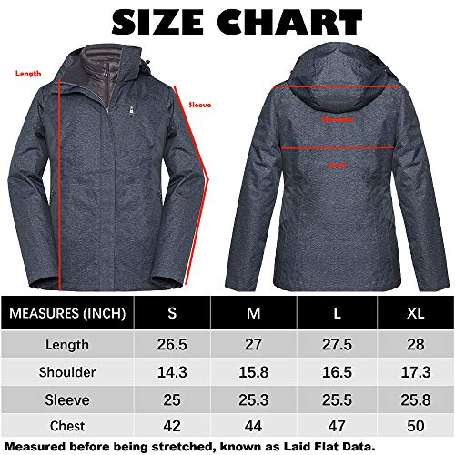 Universo Women's Hooded Waterproof 3-in-1 Ski Jacket Detachable Windproof Puffer Liner Outdoor Winter Snow Coat Parka(Iron and Carbon Grey,L)