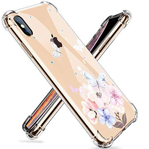 Homikon Silikon Hülle Blume Muster Karikatur TPU Tasche Handyhülle Transparente Durchsichtig Kirstall Clear Dünn Schutzhülle Stoßdämpfend Soft Bumper Case Kompatibel mit iPhone XS Max - #8