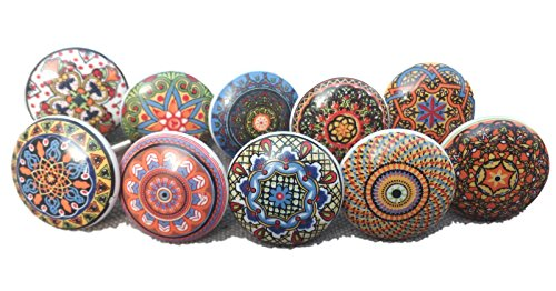 Confezione da 10pomelli, in stile vintage, motivo floreale misto, in ceramica, per maniglie porte, armadi, cassetti e credenze, rif. Xfer 002