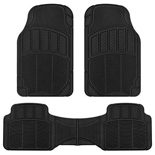 BDK NMT-020 Black CarXS Proliners Classic Rubber Floor Mats-3pc Front & Rear Heavy Duty Diamond Grid for Car Truck SUV Van