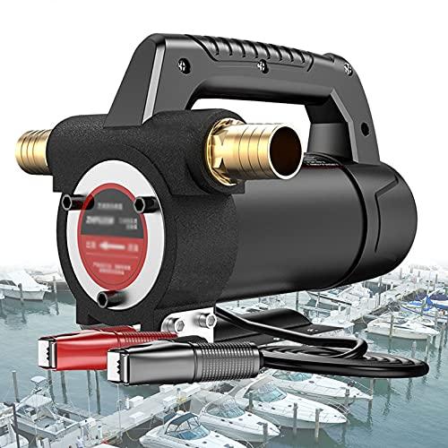 Bomba Portátil de Transferencia Diesel Gasoil Eléctrico 12V 24V, Bomba Aspiración de Aceite Extraccion y Combustible 300W para Coche, Barcos, Excavadoras (Color : 24V, Size : with Hose)