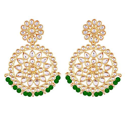 I Jewels Cuentas de Bollywood de boda india chapadas en oro de 18 k con aretes de imitación Kundan Chandbali para mujer (E2462G)