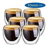 zyfun Vetro a Doppia Parete Tazze Caffe tè Latte Cappuccino Succo Durable Stylish Vetro Resistenti al Calore 80ml Set di 6