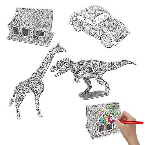 ZoneYan Rompecabezas para Colorear 3D, Juegos de Rompecabezas Color en 3D, DIY Arts Crafts Puzzle Kit, 3D Coloring Puzzle Set, Juego de Arte y Manualidades, Juguetes Educativos para Niños (A)