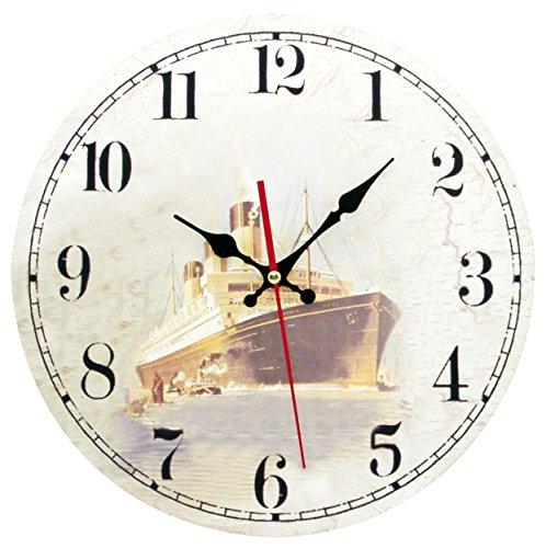 Générique 630 paquebote Reloj 3 Agujas de chimeneas Movimiento silencioso de Madera, 30 x 30 x 5 cm