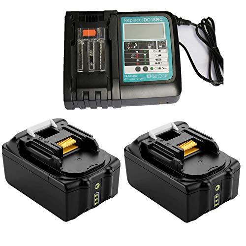 Batería de repuesto para amoladora angular Makita DGA505Z, DGA511RTJ, DGA511Z, DGA513RTJ, DGA513Z, DGA513Z, DGA514ZJU1, DGA515RTJ, DGA517RTJ y DGA517Z (2 unidades, 18 V, 5 Ah) con cargador rápido
