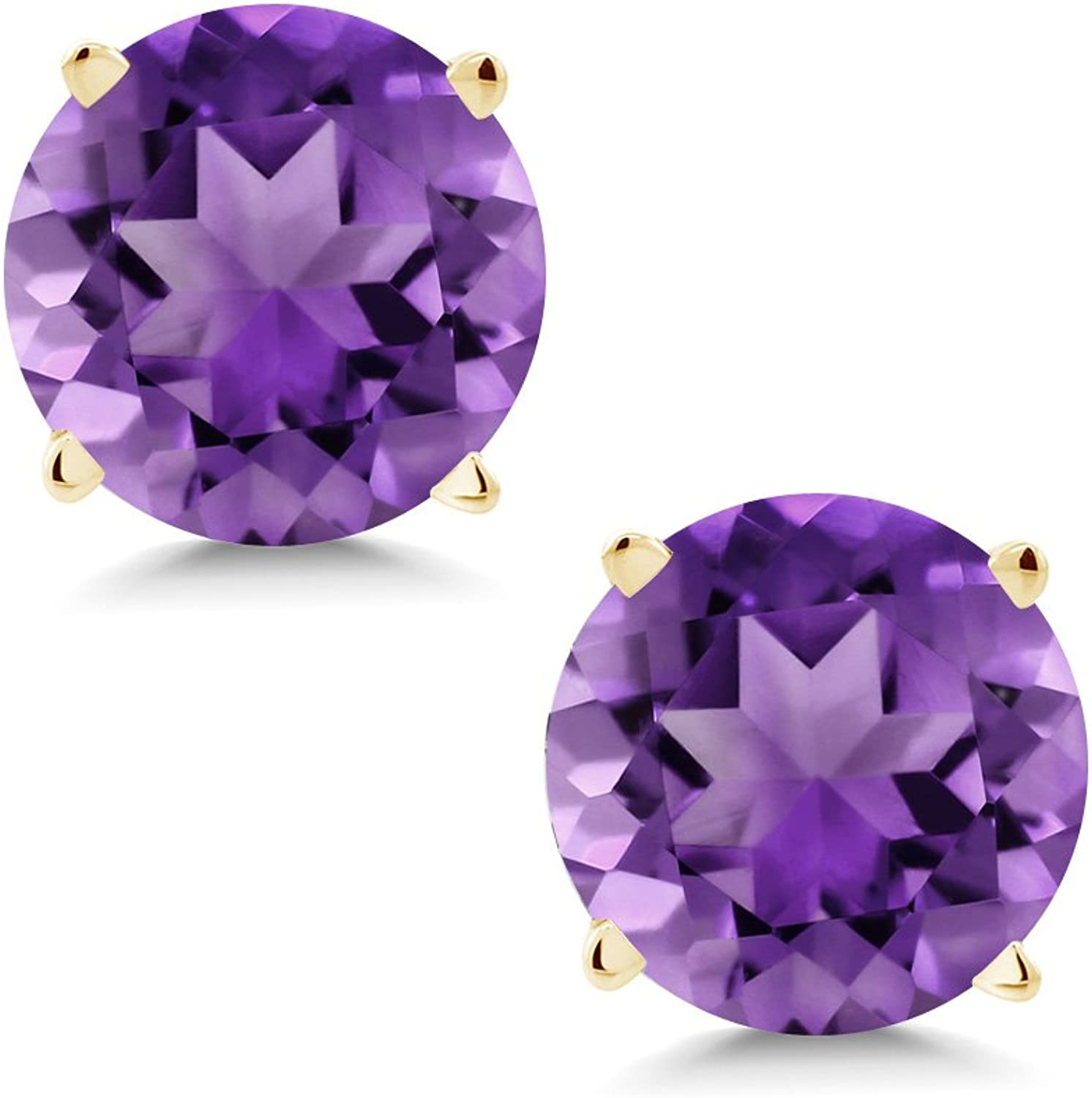 1.40 Ct Round 6mm Purple Amethyst 14K Yellow gold Stud Earrings