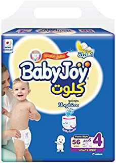 BabyJoy Culotte, Size 4, Large, 10-18 kg, Mega Pack, 56 Diaper Pants