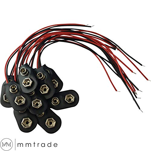 mmtrade | 10x Batterieclip 9-Volt Block Batterie Akku I-Typ Clip Snap mit 15cm Anschlusskabel für 9V Blöcke Stecker Anschluss Kabel