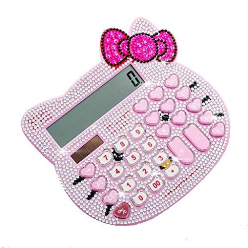 Calculadora Entorno de Escritorio Gato de la Historieta Linda calculadora Plus Rhinestone Cabeza Solar calculadora de la Oficina Oficina Calculadora (Color: Rosa, Blanco) Vineyard (Color : Pink)