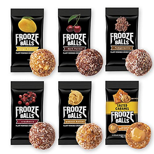 Frooze Balls Plant Protein Powered Vegan Snack Energy Balls, Classic Variety Pack Gift Box (Pack of 6) Each Pack Has 5 Balls!