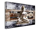 DECLINA Tableau DecoZen Bouddha ET Japon imprimée - Impression sur Toile décoration Murale Zen - Déco Maison, Cuisine, Salon, Chambre Adulte - Marron 50x30 cm