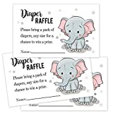 50 Elephant Diaper Raffle Tickets for Baby Shower-Baby Shower Invitations Inserts Request Cards Games Decorations Supplies for Baby Gender Tickets.