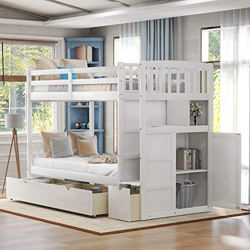 Twin Over Full Bunk Bed, Twin Bunk Beds for Kids, Bed Frame with Convertible Bottom Bed, Storage Shelves and Drawers (White)