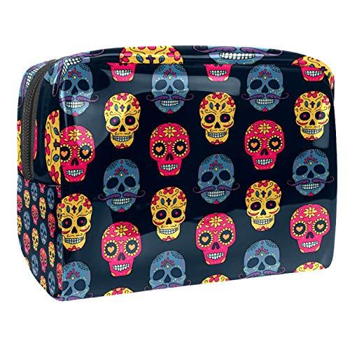 Bolsa de maquillaje de PVC para mujer y niña cosmética neceser organizador de bolsa de 7.3 x 3 x 5.1 pulgadas, diseño de calavera de flores