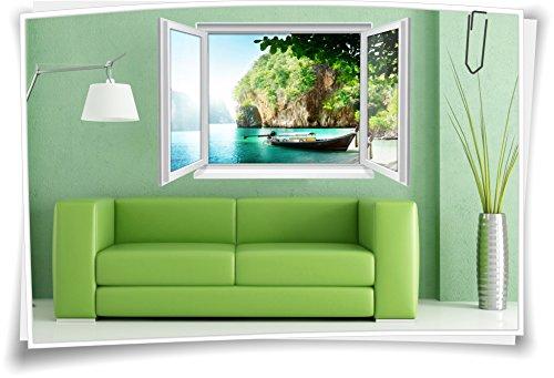 Medianlux 3D venster muurschildering muursticker sticker woonkamer eiland water boot vakantie reizen lagune decoratie
