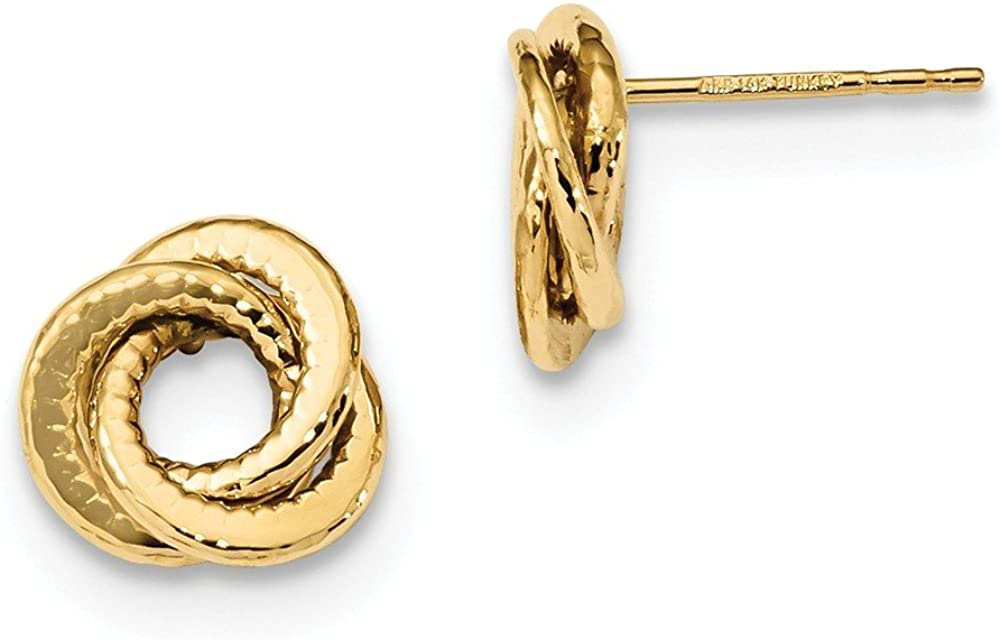 14k Yellow Gold Love Knot Post Studs Earrings 10mm