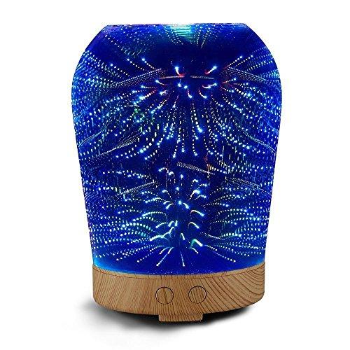3D Glas Aroma Diffuser, SUAVER 100ml Ultraschall Luftbefeuchter Aromatherapie Diffusor Öl Raumbefeuchter mit 16 LED Farbwechsel und Starburst Nachtlichter (Flache runde Form)