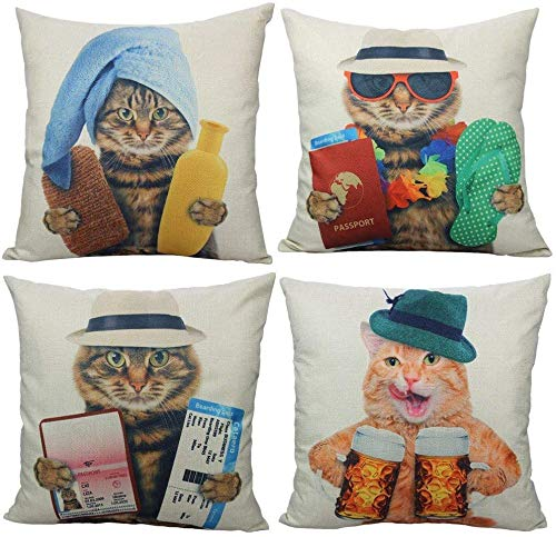 Cat Cushion Covers Garfield Funny Cute Animals Pillows Cover Decorative For Home Outdoor Sofa Decor 18' x18' Set of 4