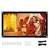 AMONIDA 16: 9 Écran de Projecteur Anti-froissage Portable Blanc Doux pour Home Cinéma Support Intérieur Extérieur Projection Double Face(40inch)