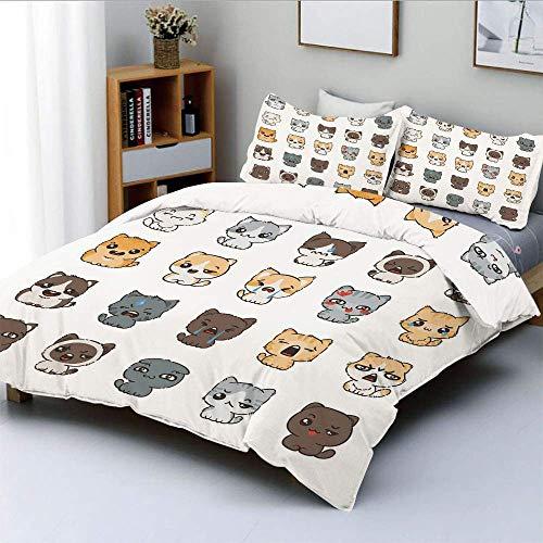 Juego de funda nórdica, lindos gatos y perros de dibujos animados con diversas expresiones faciales Enojado feliz triste sonriente Decorativo Juego de cama decorativo de 3 piezas con 2 fundas de almoh