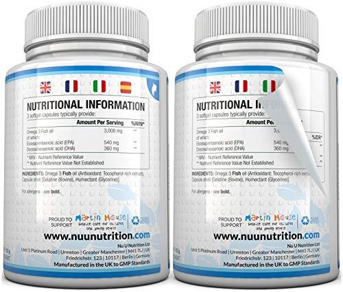 Omega 3 Fischöl 1000 mg von Nu U, 365 Kapseln (Versorgung für 12 Monate) – 100% GELD-ZURÜCK-GARANTIE – Maximale Stärke und Aufnahmefähigkeit – Hergestellt in Großbritannien - 5