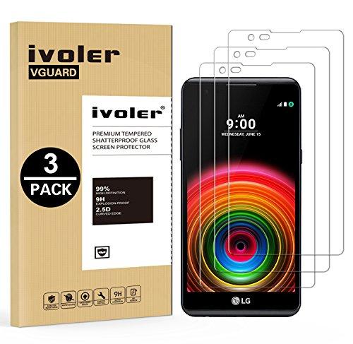 ivoler [3 Stücke] Panzerglas Schutzfolie für LG X Power, 9H Festigkeit, Anti- Kratzer, Bläschenfrei, [2.5D R&e Kante]