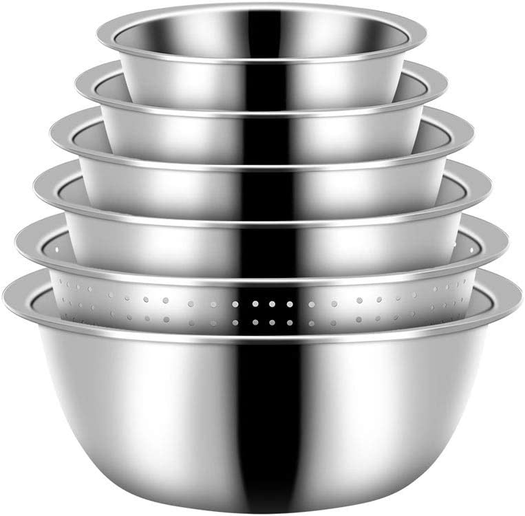 Ranking integrated 1st place DSFEOIGY 6pcs set Stainless Steel Mixing with Bowls Colander Industry No. 1 Set