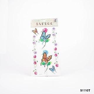 Tatuajes Naranja y mariposas azules y rosas en morado y rosa
