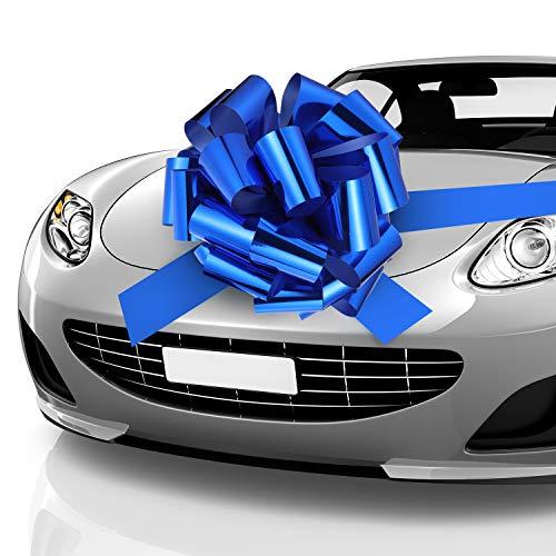Auto Bow Bogen Schleife Auto Geschenk Verpackungsbogen mit 20 ft Auto Band für Auto Dekor Hochzeit New Houses Party Feier (Blau, 20 Zoll)