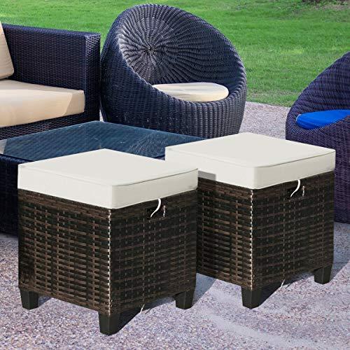 4-Set Patio Rattan Ottoman Cushioned Seat Elegant Foot Rest Coffee Table