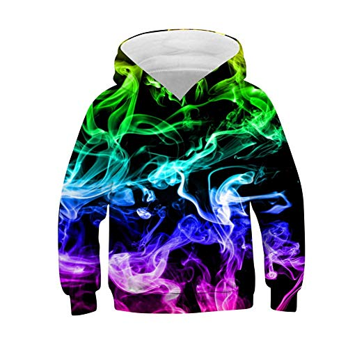 Uideazone Kids Boys Girls 3D Graphic Pullover Hoodies Casual Hooded Sweatshirt with Pockets 6-16 Years Colorful Smoking 14-16 Years