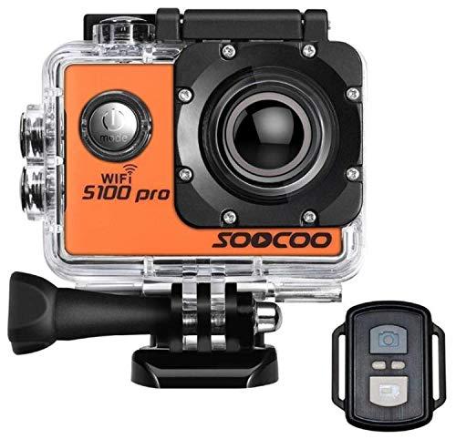 16GB TF Card + SOOCOO S100 pro 4K WIFI Videocamera per azioni sportive, Videocamera HD Ultra HD impermeabile 20MP 170 ° Grandangolo 2 \'Touchscreen Motocycle Casco bici Sport Action Cam Audio Recorder
