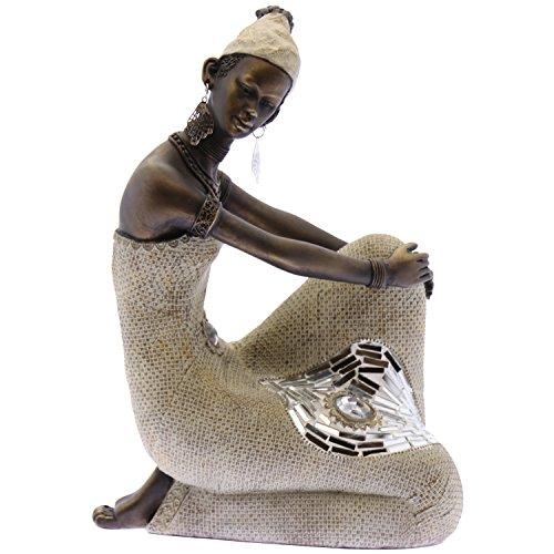 Supernova Decoracion - statuetta africana in resina, con finitura argento e oro, con applicazioni di vetro, dimensioni: 17x 8x 27cm