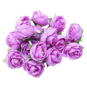 Asoaso 50 Artificial Roses 3cm Large Flowers Violet Home Decor – Artificial Dried Flowers Artificial Dried Flowers Flower Violet Outdoor Sofa Delphinium African Rose B