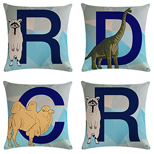 JOVEGSRVA Juego de 4 fundas de almohada decorativas con diseño de dinosaurios de dibujos animados de 45 cm x 45 cm