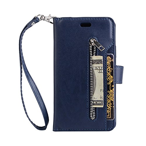 Businda Luxury PU Leather Wallet Case for iPhone 11 6.1 inch 2019, Folio Flip Case with Kickstand Card Holders Hand Lanyard Wristlet,Folding Stand Protective Cover for Apple for iPhone XIR,Blue