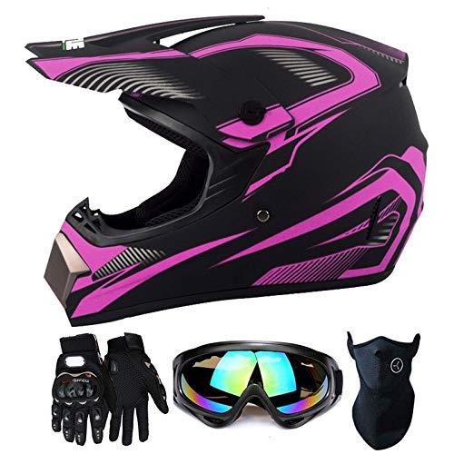 Youth Motorcycle Helmet 4 Pack, Suitable for All Seasons, Boys Girls Bicycles Motocross ATV Full Face Helmets, DOT/FMVSS-218 Certification Standard,Purple,S