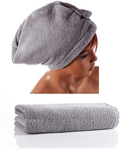 Seventex Toallas saludables, juego de toallas de algodón orgánico puro Egeo, algodón, gris, 2...