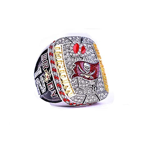 KuanDar clo 2021 Super Bowl Championship Tampa Bay Buccaneers Rings, Tom Brady Championship Ring, Buccaneers Memorial Ring with Box, Best Gift for Fans Of The Tampa Bay Pirates (#8,Without box)