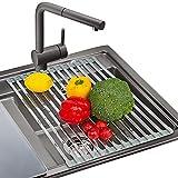 AMZOYO Estante de Secado de Acero Inoxidable 43x33cm - sobre el Fregadero de la Cocina o la Encimera Plato Plegable de Alambre - Grado de Alimentos, Libre de BPA, Resistente al Calor hasta 400°F Gris
