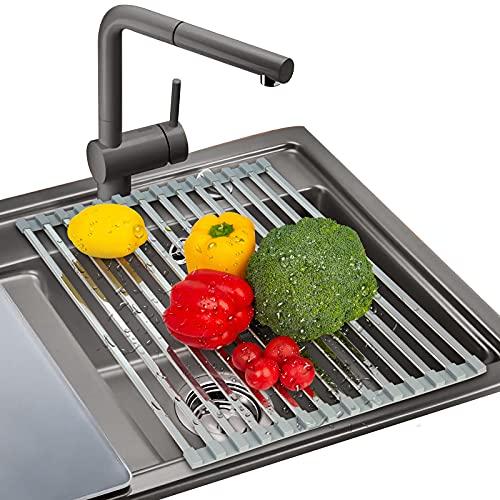 AMZOYO Geschirr-Trockengestell, 43x33cm Mehrzweck faltbar Roll Up Dish Rack Trocknen Rack Edelstahl Küche über Spüle Trocknen Rack für Gerichte, Tassen, Obst und Gemüse, Grau