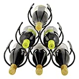 Twine Country Home Metal Wine Rack, Set of 1, Freestanding Vintage Style Wine Bottle Storage, Black Cast Iron with Antique Finish, Holds 6 Bottles of Wine or Liquor, 11.25' x 13' x 6.5'