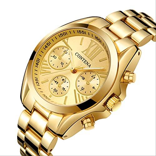 QWYU Reloj Mujer Reloj Mujer Relojes de Mujer Plata Oro Acero Inoxidable Reloj de Mujer Reloj de Pulsera Zegarek Damski Oro